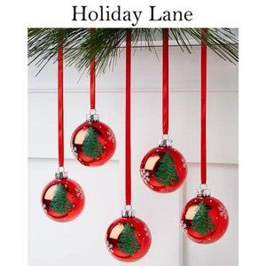 Holiday Lane Red Glass Ornaments NWT